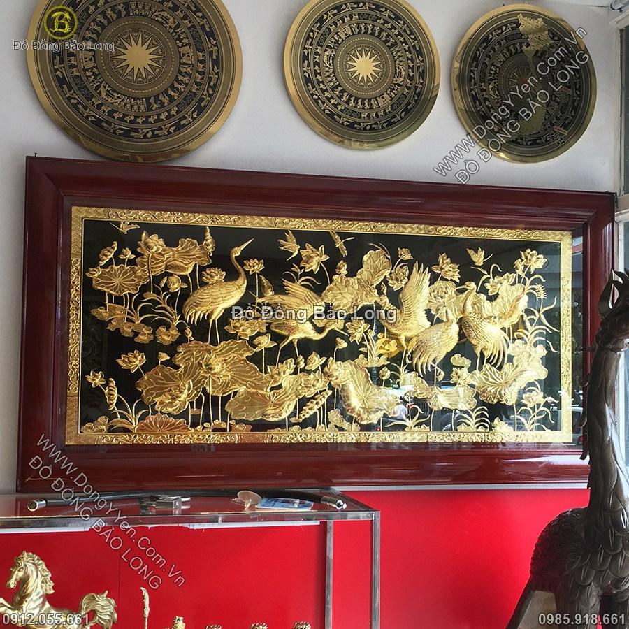 Tranh Sen Hạc 1m76 Mạ Vàng 24k