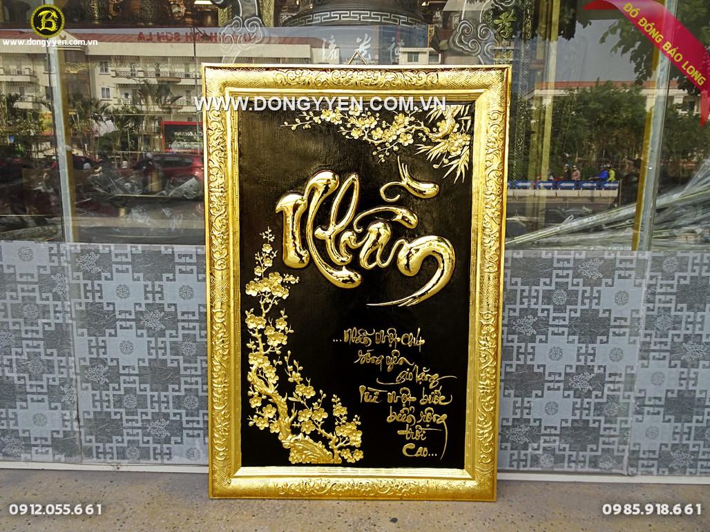 tranh chữ nhân khung đồng mạ vàng 81x55cm