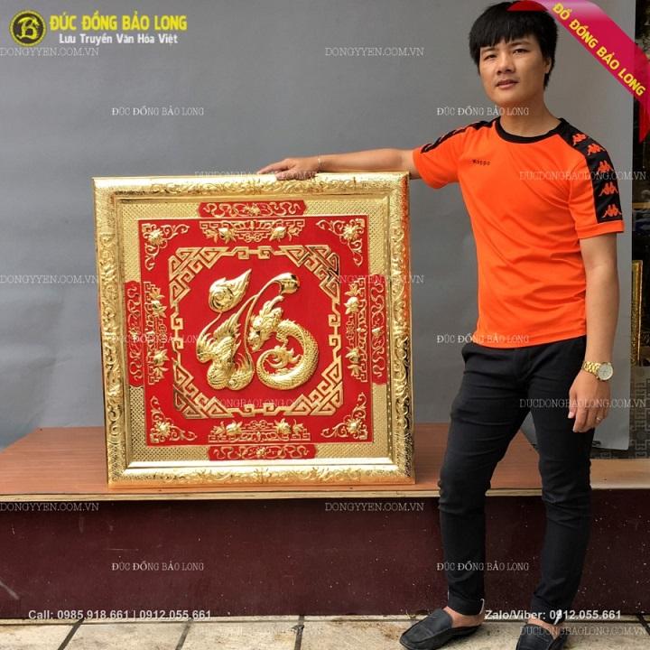 Tranh Chữ Phúc Hóa Rồng Phượng Khung Liền Đồng Mạ Vàng 88cm