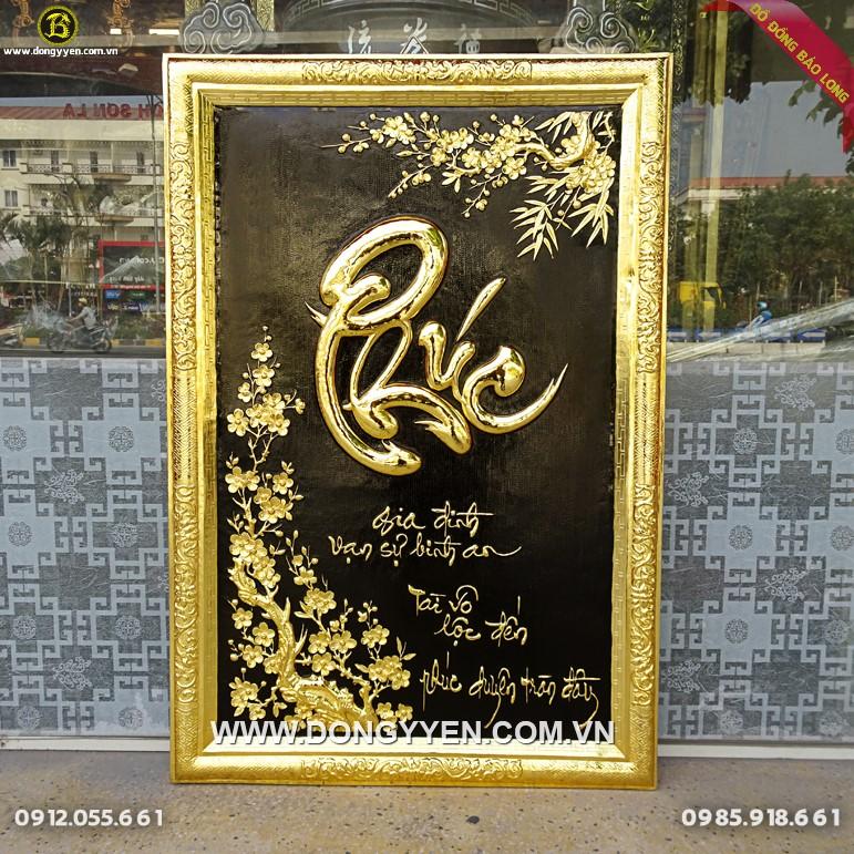 Tranh Chữ Phúc Khổ Đứng khung đồng Mạ Vàng 24k 81x55cm