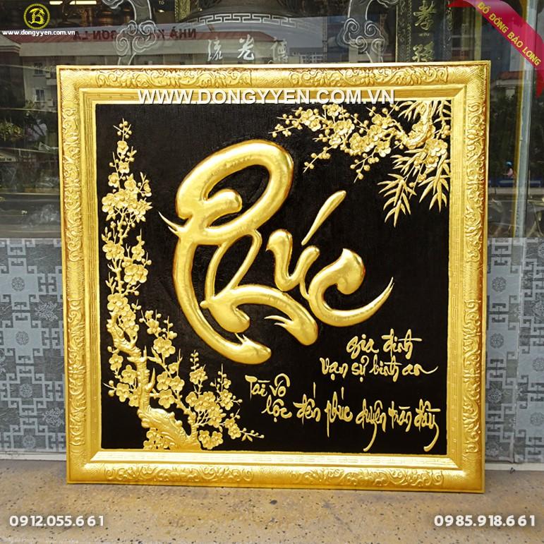 Tranh Chữ Phúc Khung Đồng Dát Vàng vuông 81cm
