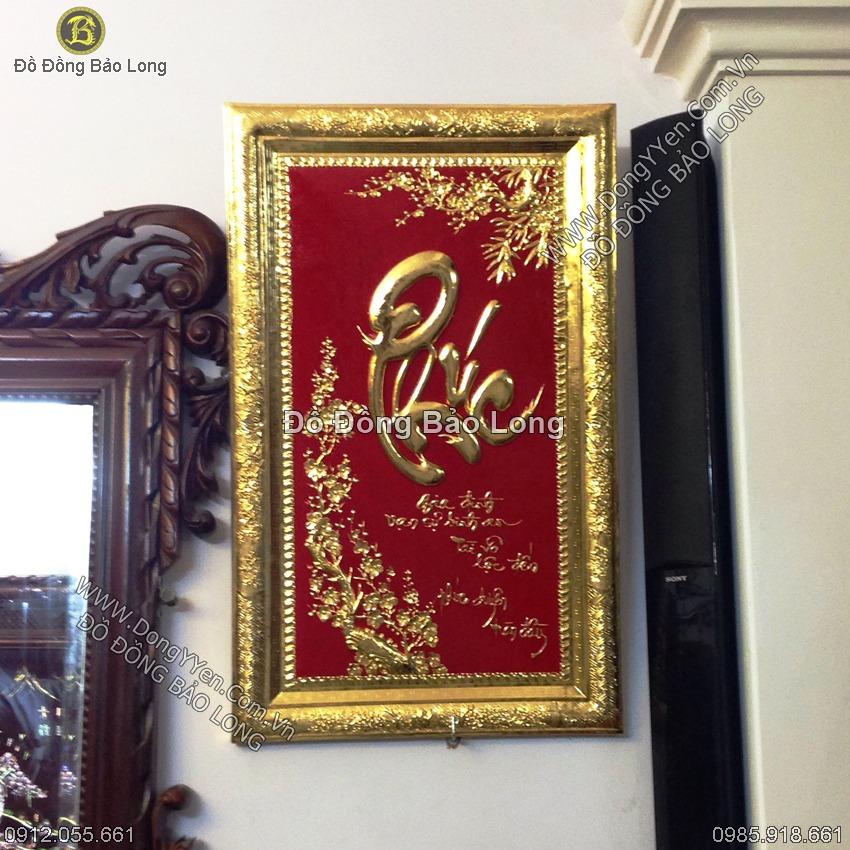 Tranh Chữ Phúc Khung Đồng Mạ Vàng 81cm