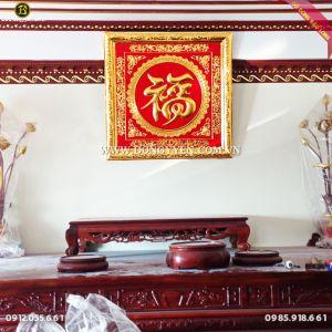 Tranh Chữ Phúc Khung Đồng Mạ Vàng, Dát Vàng chữ 9999 81cm