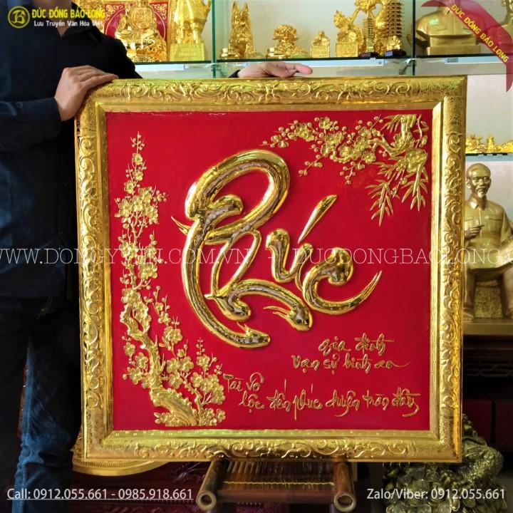 Tranh Chữ Phúc Thư Pháp Mạ Vàng 81cm Cho Khách Ninh Bình