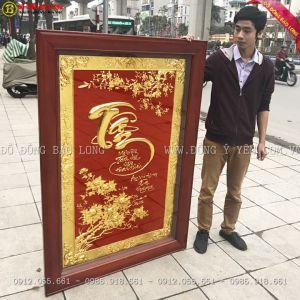 Tranh Chữ tâm Mạ Vàng 24k 1m55 cho A Dũng Nam Đàn