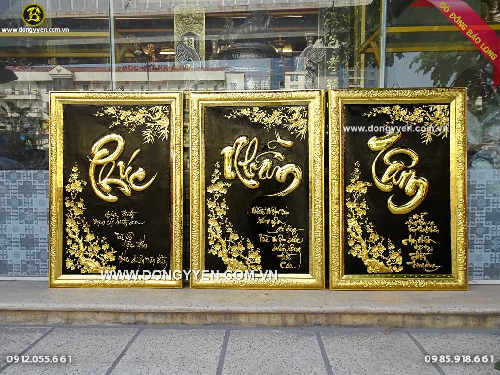 tranh chữ mạ vàng 24k mừng tân gia biếu tặng