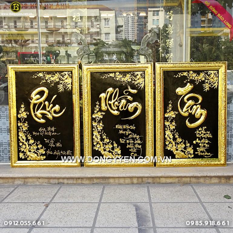 Tranh Chữ Bằng Đồng Mạ Vàng biếu tặng Mừng Tân Gia