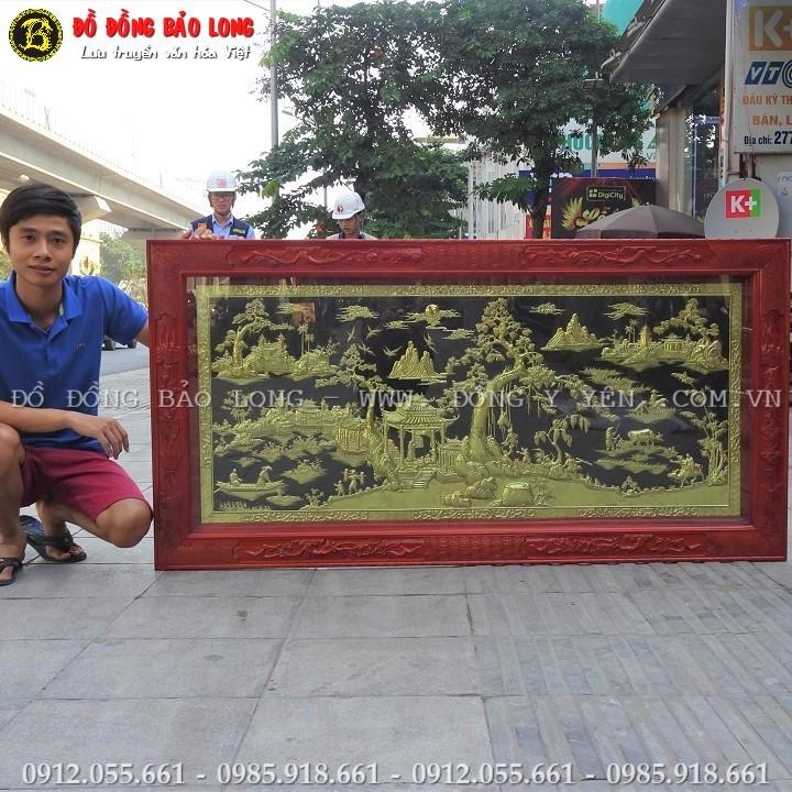 Tranh Đồng Quê Bằng Đồng Khung Gỗ 1m76 x 89cm