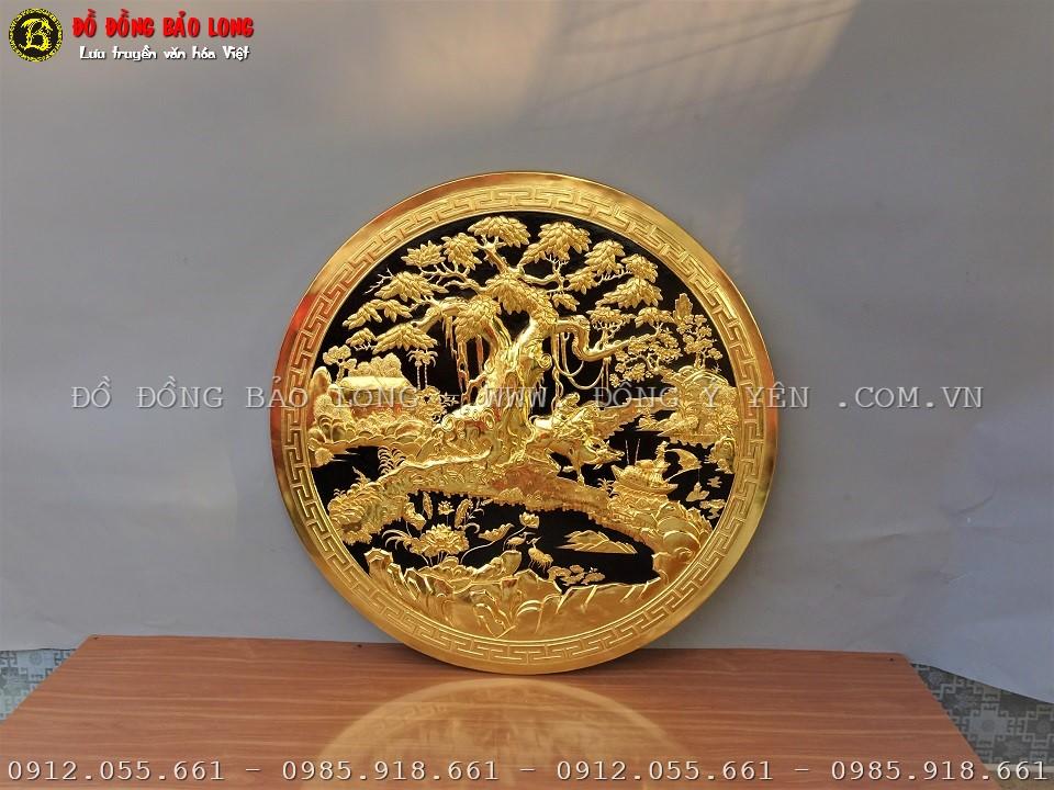tranh hình tròn đồng quê bằng đồng