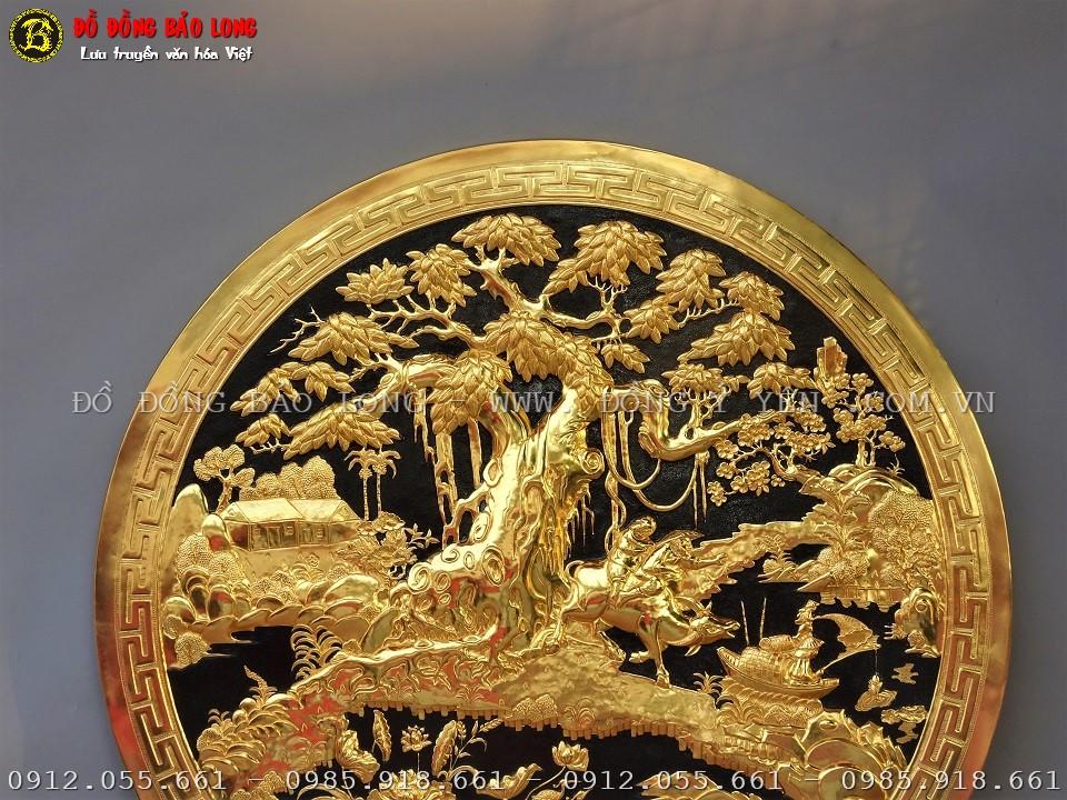 tranh hình tròn đồng quê bằng đồng mạ vàng