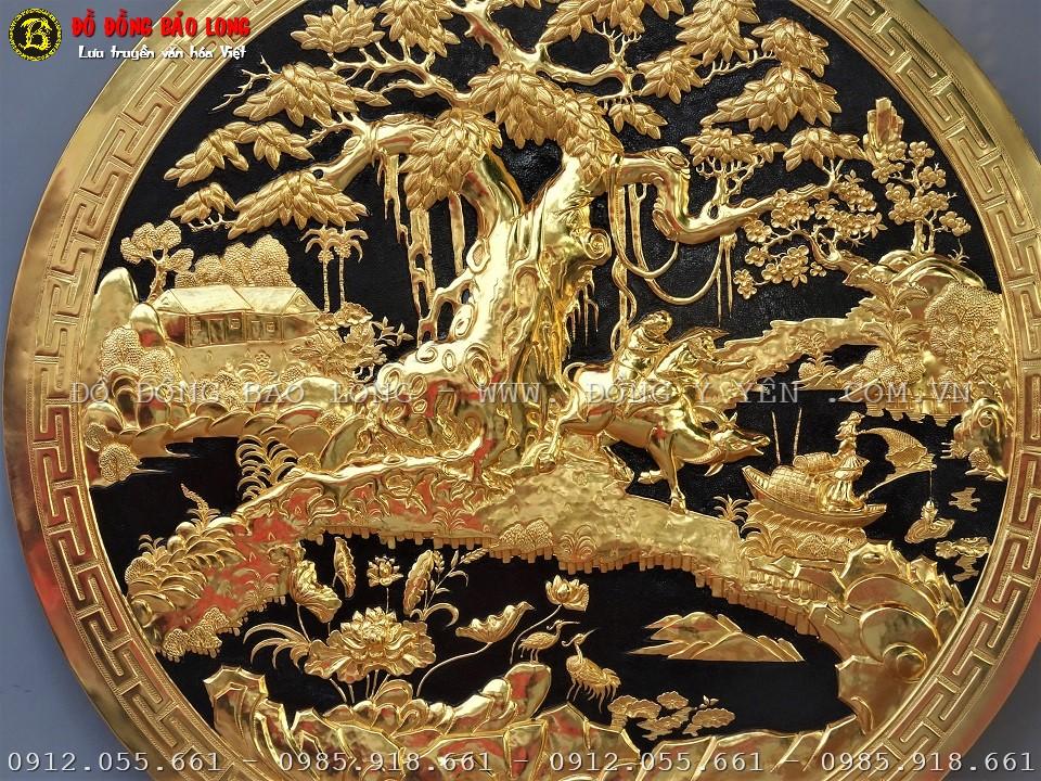 tranh hình tròn đồng quê mạ vàng
