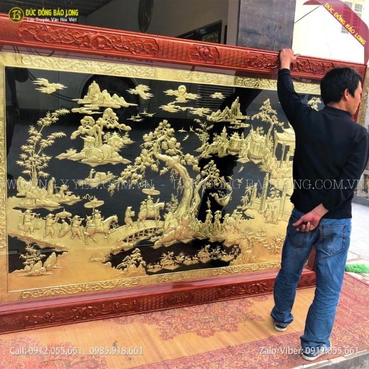 Tranh Đồng Quê Bằng Đồng 2m15x1m47 cho khách ở Nam Định