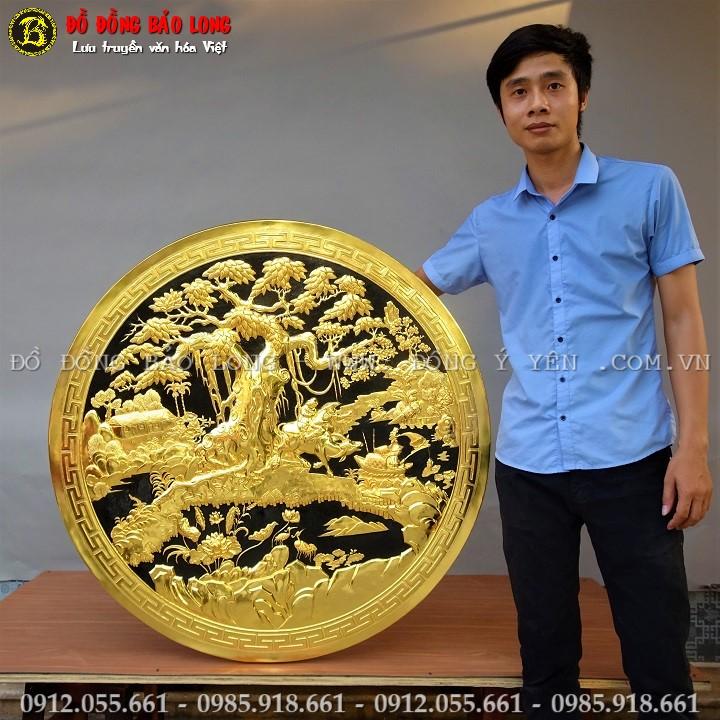 Tranh Hình Tròn Đồng Quê Bằng Đồng Mạ Vàng 24k ĐK 1m