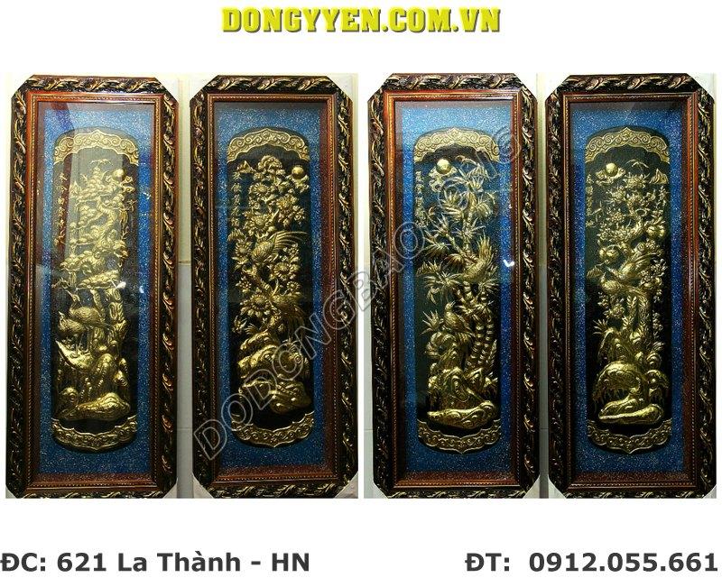 tranh tứ quý bằng đồng 1m x 40cm nền xanh