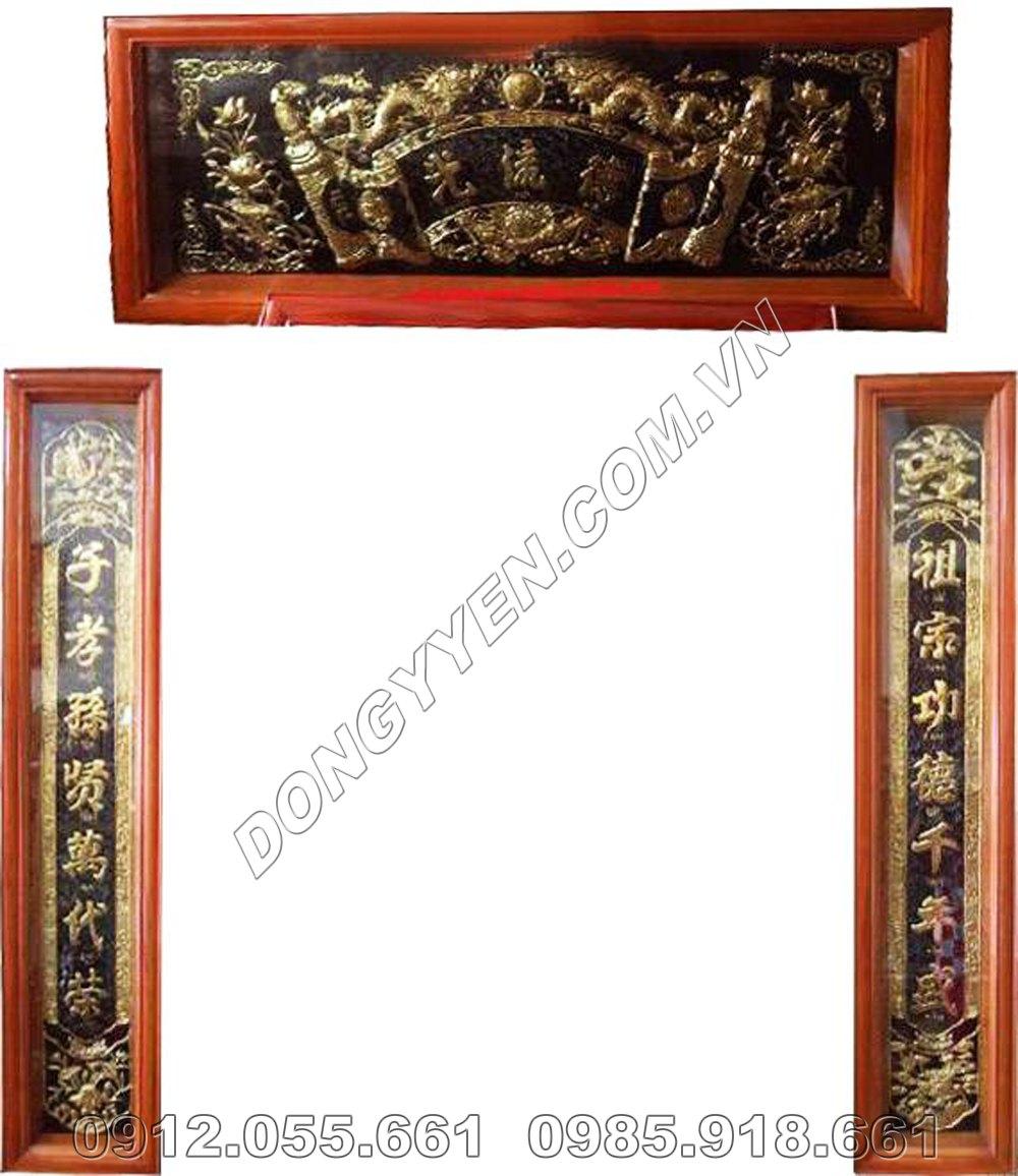 cuốn thư câu đối thờ gia tiên bằng đồng