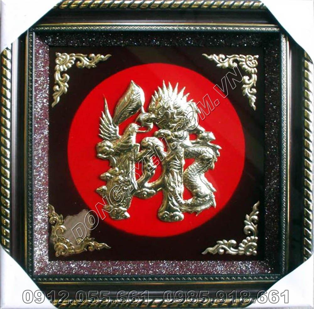 Tranh Đồng Chữ Đức Hóa Rồng 60cm x 60cm