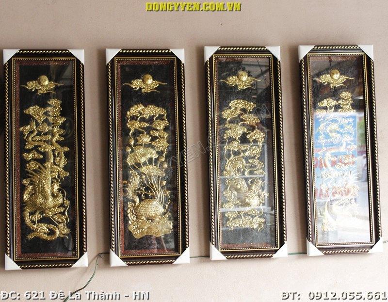 Tranh Đồng Tứ Linh Hàng Đẹp 90cm x 38cm