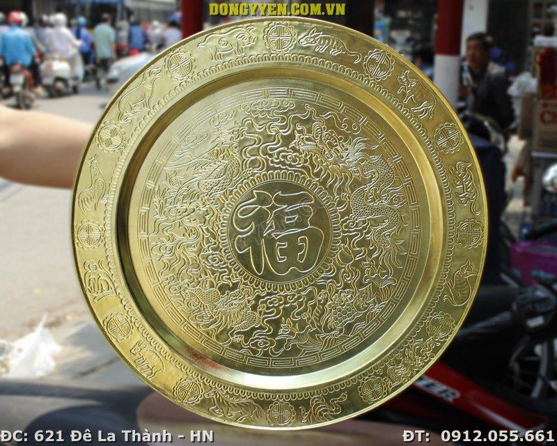 Mâm Đồng Chạm Tứ Linh Chữ Phúc 50cm