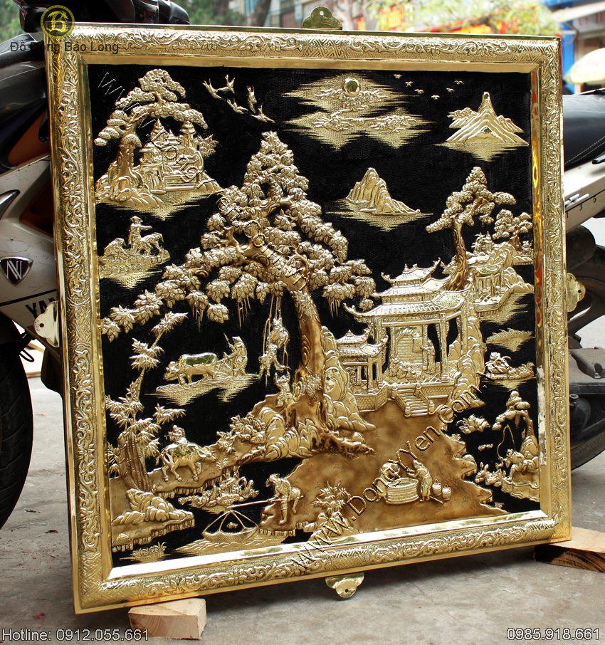 Tranh Phù Điêu Đồng Quê Trang Trí Nhà Biệt Thự 88cm