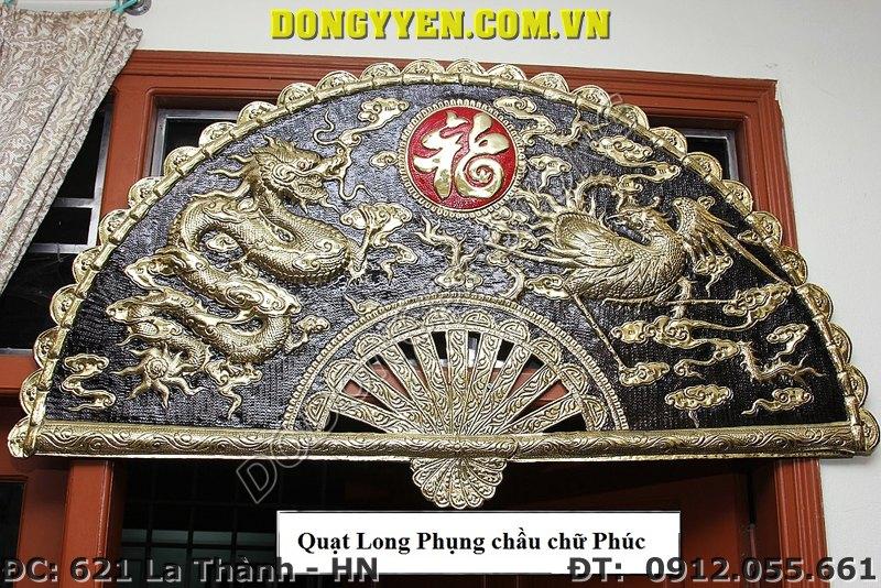Quạt Đồng Long Phụng Chầu Chữ Phúc 80cm