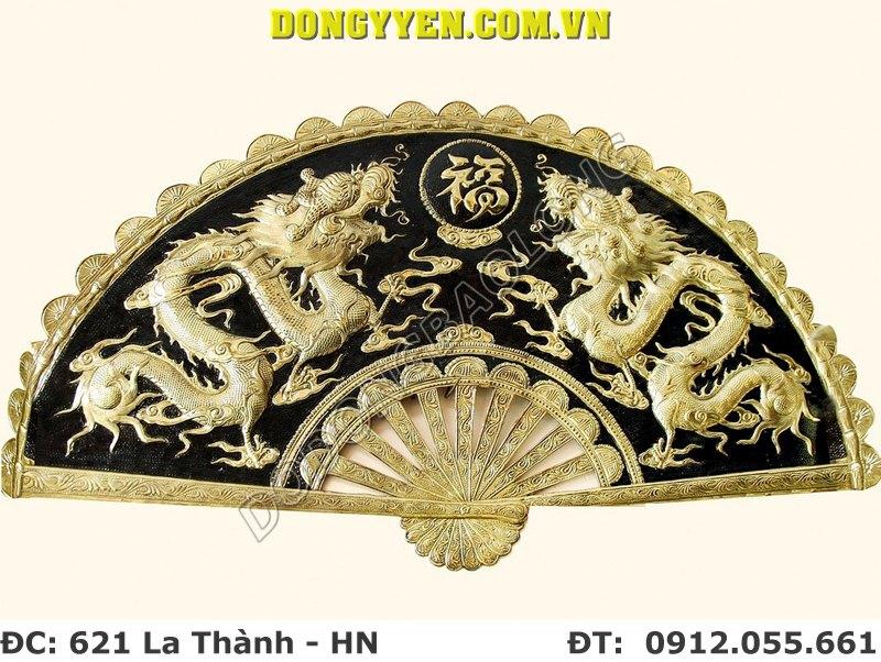 Quạt Đồng Song Long Chầu Chữ Phúc 80cm