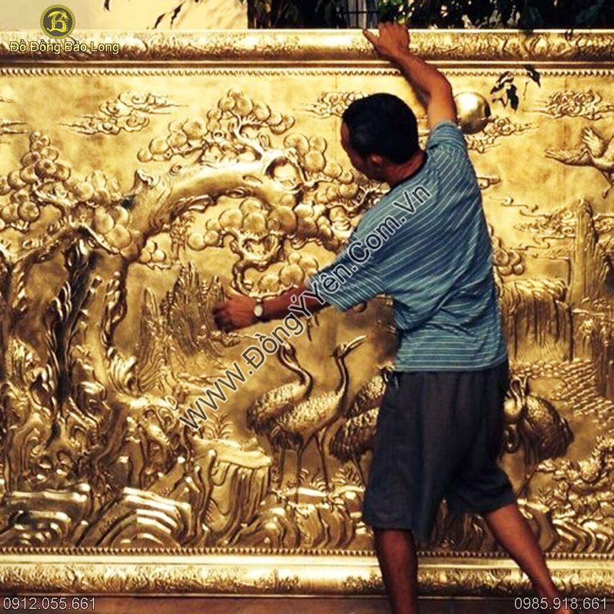 Tranh Đồng Bát Hạc Quần Tùng Liền Khung