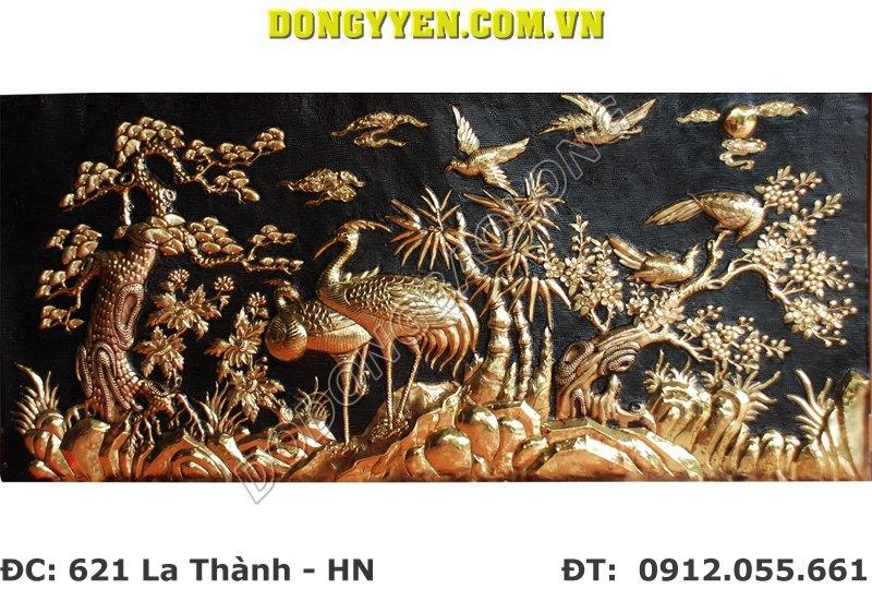 Tranh Đồng Tùng Hạc - Tranh Chạm Cảnh Tùng Hạc Bằng Đồng 1m2