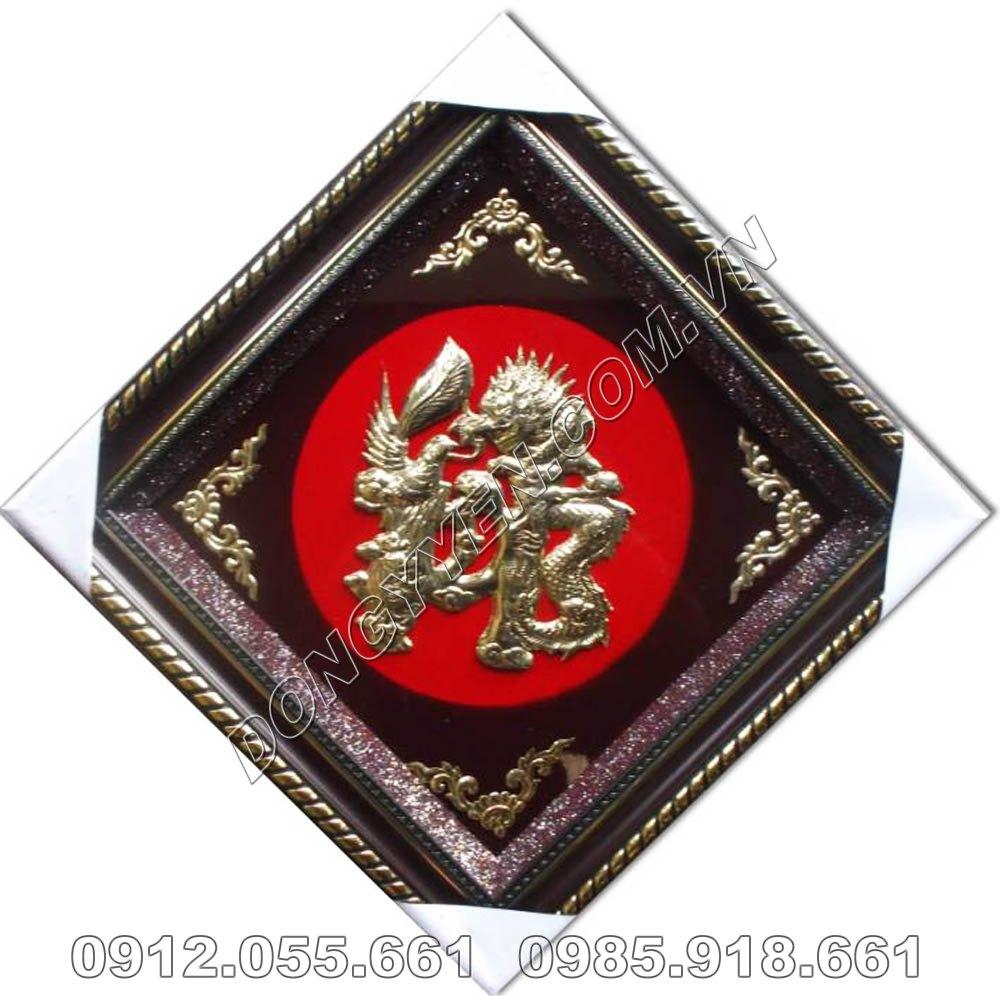 Tranh Đồng Chữ Đức Hóa Rồng 50cm x 50cm