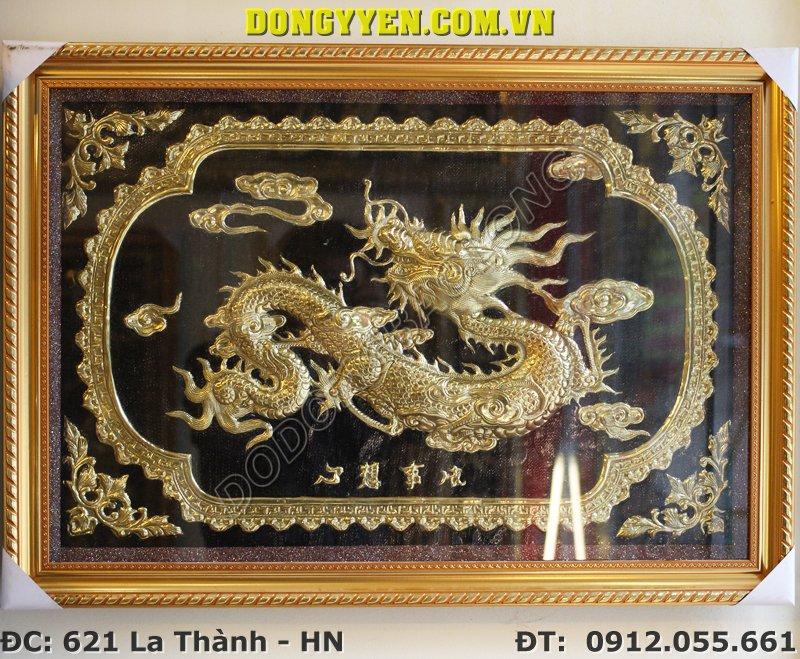 Tranh Đồng Chữ Tâm Hóa Rồng 80cm x 60cm