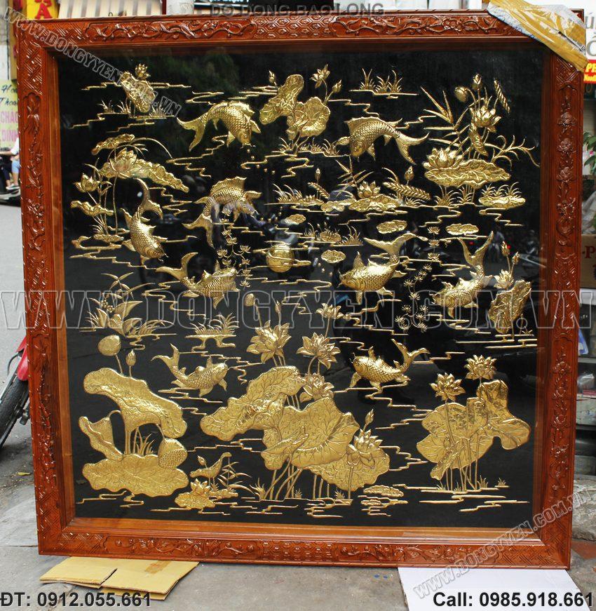Trang Đồng Cửu Ngư Hoa Sen Mạ Vàng 24K