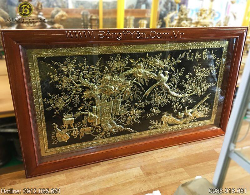 Tranh Đồng Vinh Hoa Phú Quý Chạm Hoa Mai Hoa Hồng 1m55