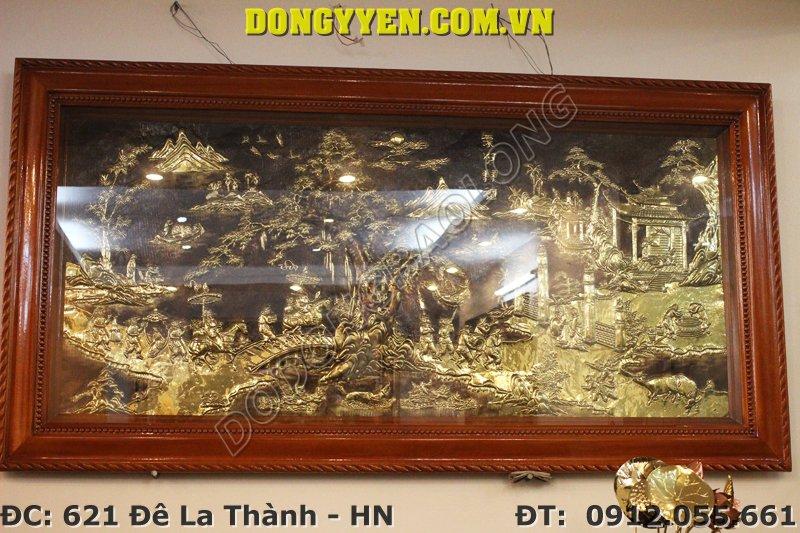 Tranh Đồng Vinh Quy Bái Tổ Mạ Vàng 2m3