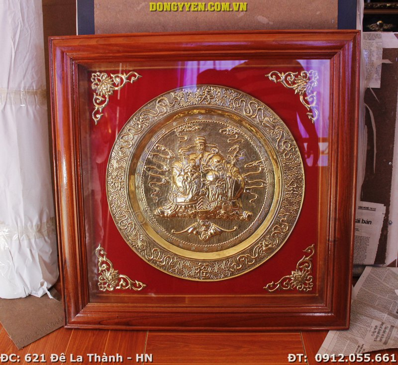 Tranh Mâm Đồng Phúc Lộc Thọ 80cm