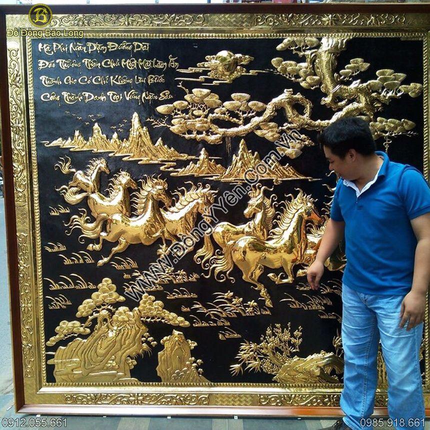 Tranh Ngựa Mã Đáo Thành Công Mạ Vàng 24k