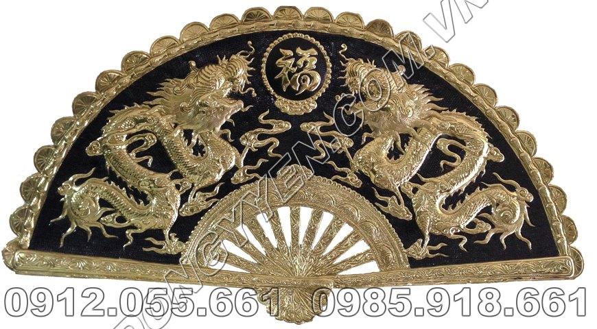 Tranh Quạt Đồng Song Long Chầu Mặt Nguyệt 80cm