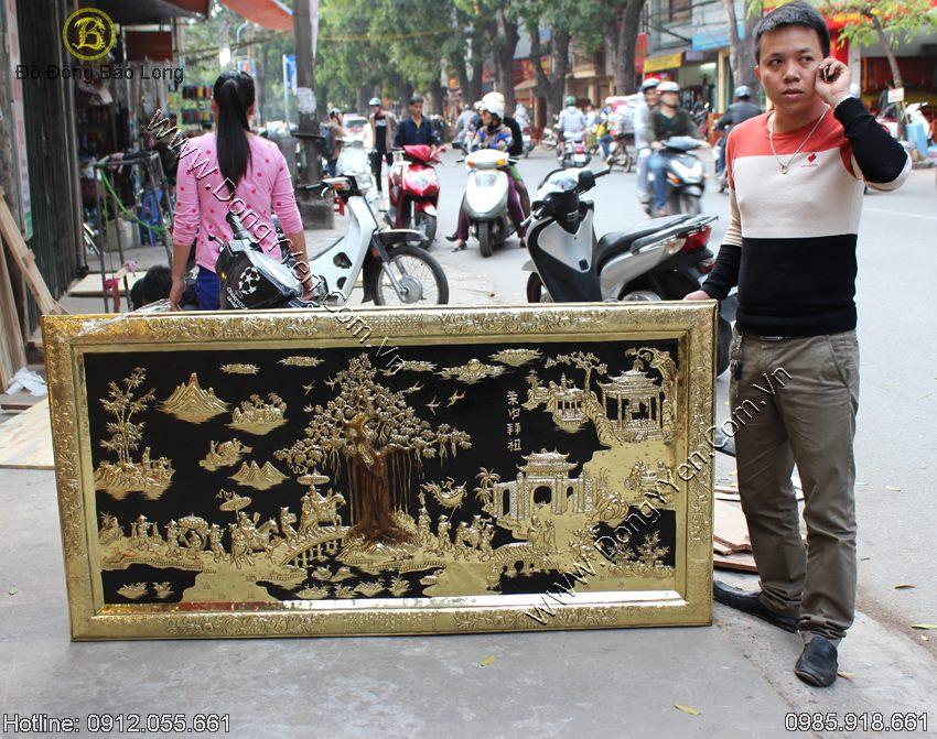 Tranh Vinh Quy Bái Tổ Khung Liền Đồng 1m76