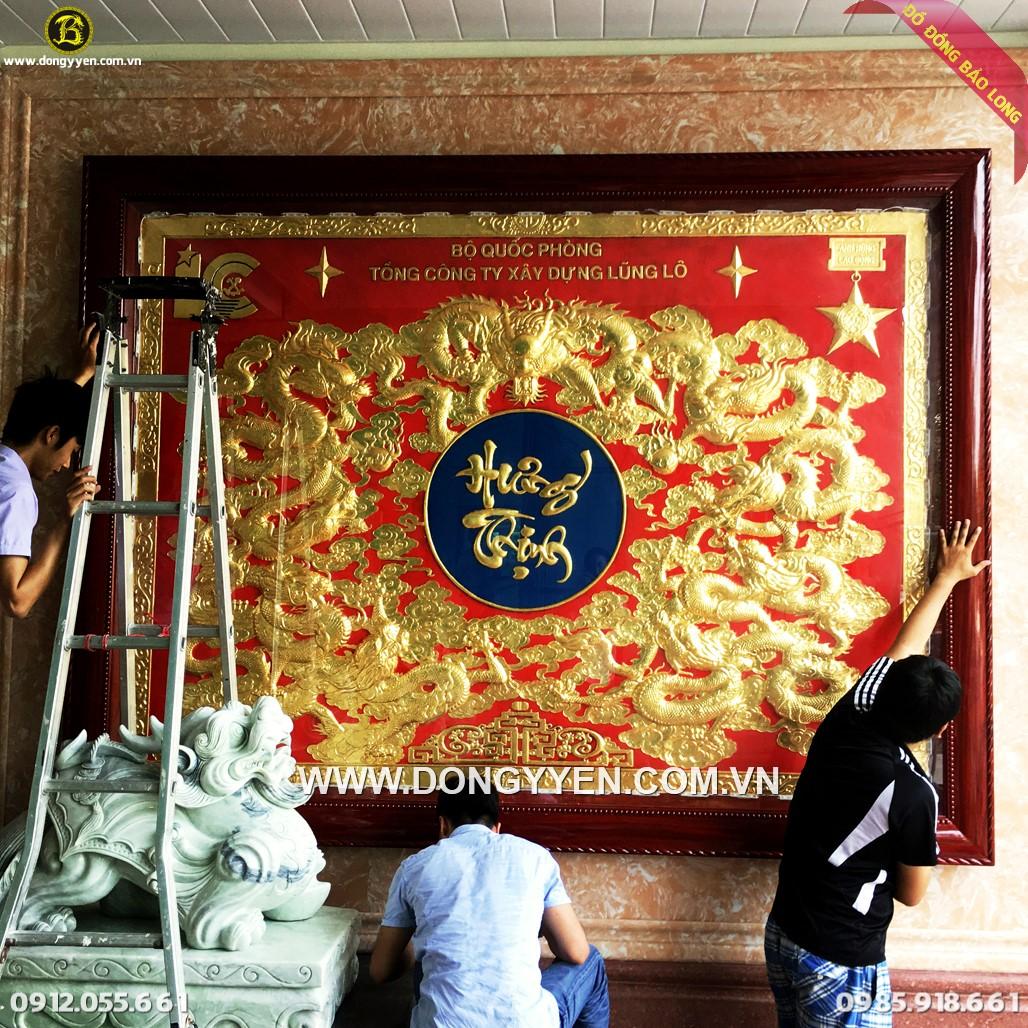 Tranh Cửu Long Hưng Thịnh 2m81 Dát Vàng