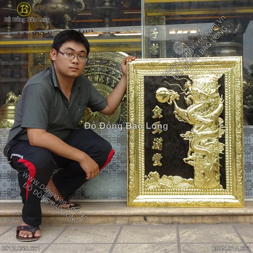 Tranh Đồng Hoàng Long Cửu Kim 88cm