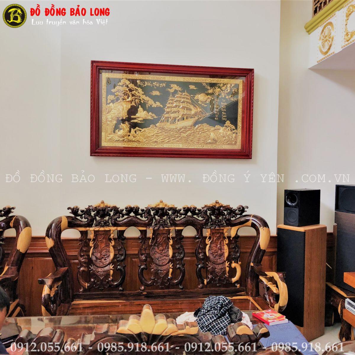 Tranh Thuận Buồm Xuôi Gió Bằng Đồng 1m55x88cm Mạ Vàng 24k