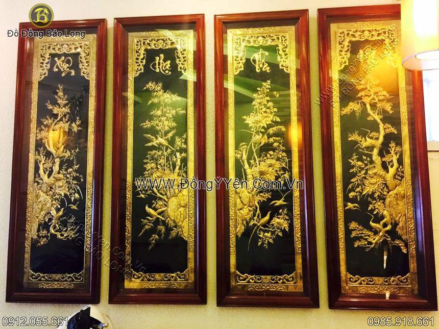 bộ tranh tứ quý hàng đẹp khung gụ 1m27