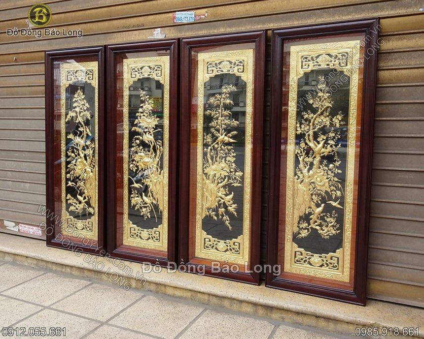 bộ tranh tùng cúc trúc mai mạ vàng 24k 1m