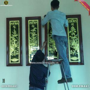 Bộ Tứ Quý Đồng Vàng Khung Gụ 1m27 khách Nam Định