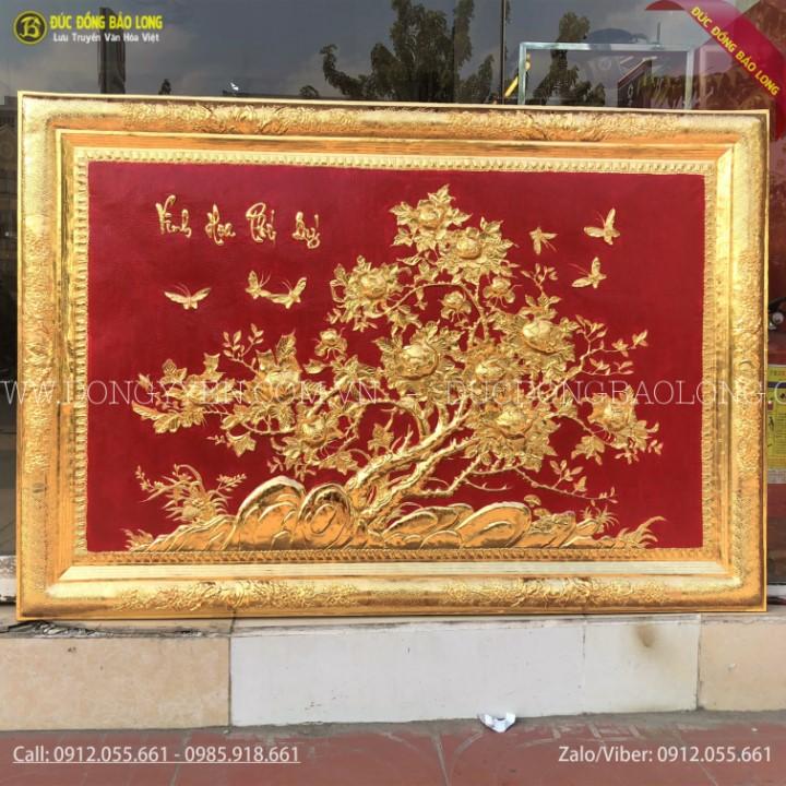 Tranh Hoa Mẫu Đơn Khung Đồng Mạ Vàng 24k 1m27 x 88cm