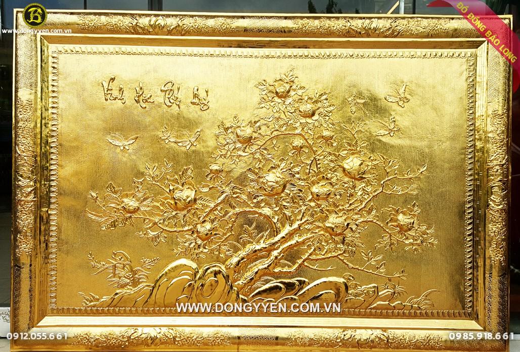 tranh hoa mẫu đơn khung đồng mạ vàng 24k 1m27