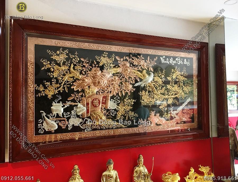 tranh đồng vinh hoa phú quý mạ vàng mạ bạc 2m31
