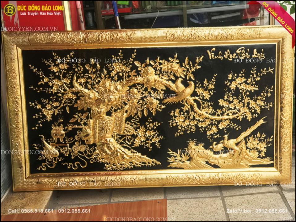 tranh vinh hoa phú quý bằng đồng mạ vàng