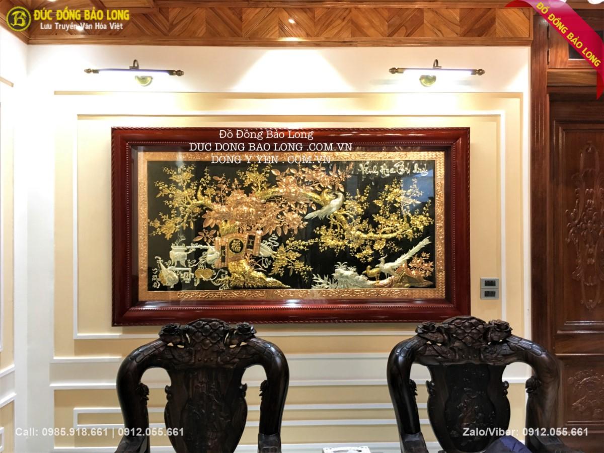 bức tranh đồng vinh hoa phú quý mạ vàng mạ bạc 2m31