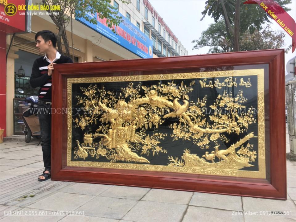 tranh vinh hoa phú quý bằng đồng khung gỗ gụ
