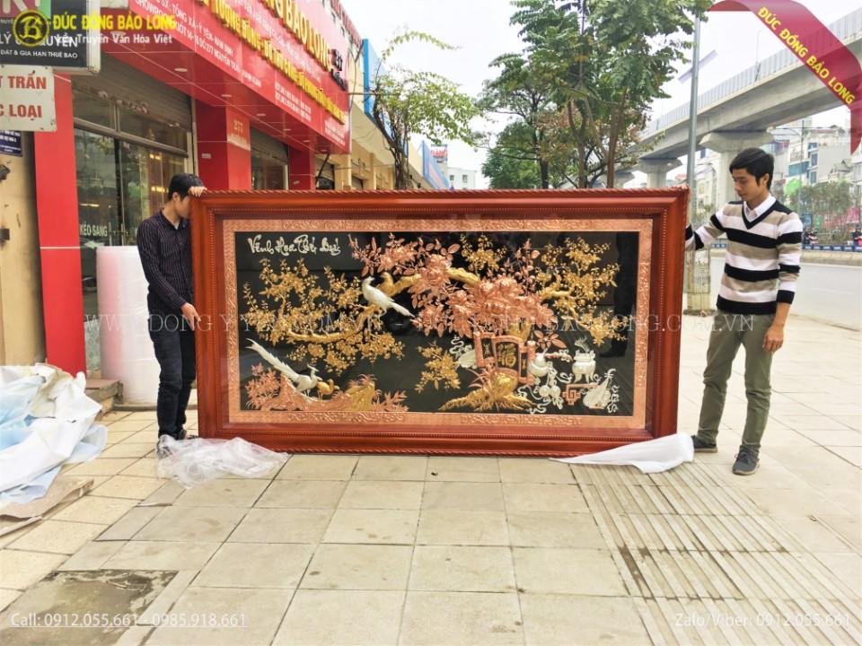 tranh vinh hoa phú quý bằng đồng mạ vàng 24k