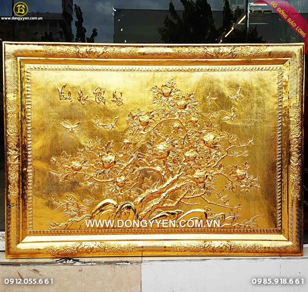 Tranh Hoa Mẫu Đơn Khung Đồng 1m27 Mạ vàng 24k
